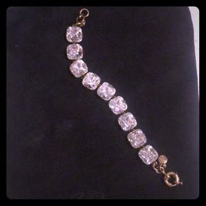 J. Crew chunky rhinestone and gold bracelet